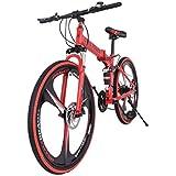 26in Folding Mountain Bike Outdoor 21 Speed Bicycle Full Suspension MTB Bikes