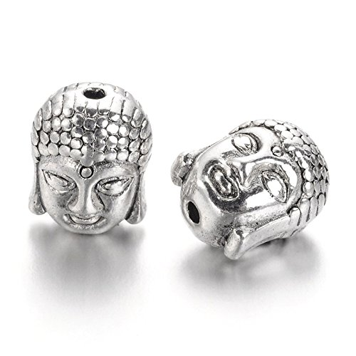 Craftdady 20Pcs Antique Silver Buddha Head Spacer Beads Tibetan Metal Spiritual Charm Beads 11x9mm for Jewelry Making Hole: 1.5mm