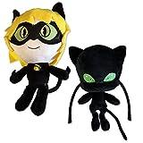 SET de 2 Plushies Couple ADRIEN Chat Noir et Kwami PLAGG 24cm de Cartoon MIRACULOUS LADYBUG