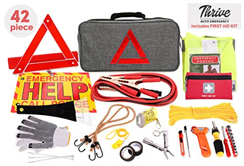 Thrive Roadside Assistance Auto Emergency Kit + First Aid Kit – Gray Travel Bag - Contains Jumper Cables, Tools, Reflective Safety Triangle and More. Ideal Winter Accessory for Your car or Truck
