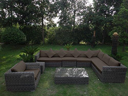 Baidani Garten Lounge Garnitur Rundrattan, Celebration Select, taupe, 305 x 305 x 64 cm, 13a00001.90007