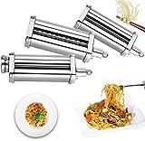 3 piezas Pasta Maker Roller and Cutter Attachment Set para mezcladores KitchenAid,8 ajustes de espesor,rodillo de hoja de pasta,espaguetis y Fettuccine Cutters Maker Accesorios con cepillo de limpieza