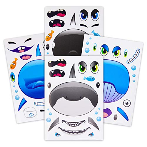 24 Make A Big Sea Life Sticker Sheets - Orca Killer Whale Humpback Dolphin & Great White Shark Stickers - Great Addition To Mermaid Birthday Party Favors - Fun Activity That Encourages Creativity