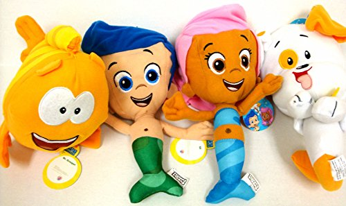 Bubble Guppies Gil, Molly, Mr Grouper and Bubble Puppy 4 Plush Doll Set 12'
