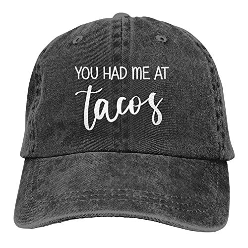 You Had Me At Tacos Gorra de béisbol Ajustable Vintage Gorra de Camionero de algodón Lavable Unisex Gorra de papá