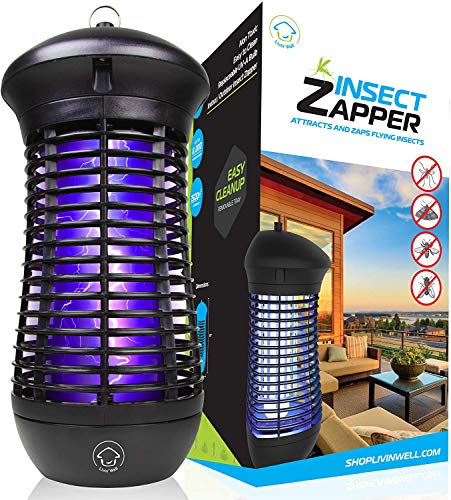 Livin' Well Bug Zapper - 4000V High Powered Electric Mosquito Killer and Insect Zapper Trap with 1,500 Sq. Feet Range and 18W UVA Mosquito Lamp Bulb