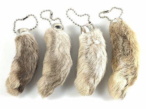 Gefährliche Fäden Kaninchenfuß Schlüsselanhänger weiß/natur 4 Stück