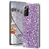 Feyten Kompatibel mit Galaxy Note 20 Ultra 5G/4G Hülle mit HD-Schutzfolie [2 Stück],Bling Glänzend Glitzer Weich TPU Silikon Etui Cover Schale Schutzhülle für Samsung Galaxy Note 20 Ultra 5G/4G(Lila)