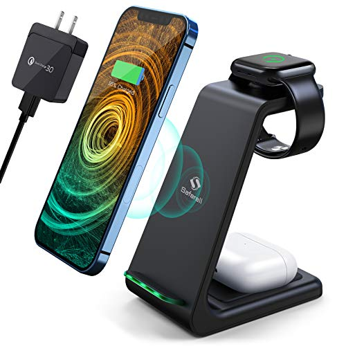 Wireless Charging Station, Saferell 3 in 1 Qi-Certified Fast Charging Station,Wireless Charger Stand for iPhone 12/11 Pro Max/X/Xs Max/8/8 Plus, AirPods 2/pro, iWatch Series, and Samsung Phones