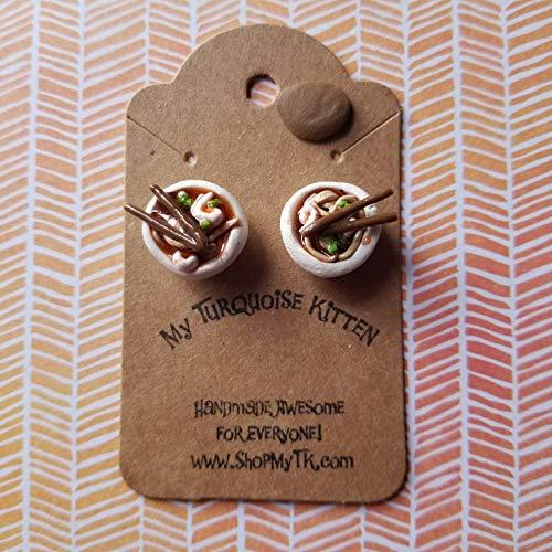 mini bowls of ramen stud earrings