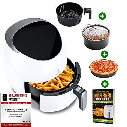 NUTRI-FRYER 5.0L Heißluftfritteuse XXL [2000W] Power Airfryer Groß - Filter Cool Touch, Digital Touchscreen Timer | Pommes Fritteuse ohne Fett & Öl | Pizzablech + Barrel + Rezeptbuch
