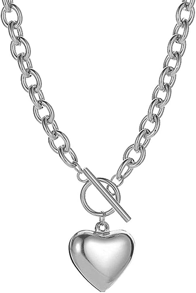 Deshionjewelry Chain Necklace for Women 18K White Gold Plated Chunky Cuban Chain Link Necklace with Heart Hypoallergenic Jewelry for Women