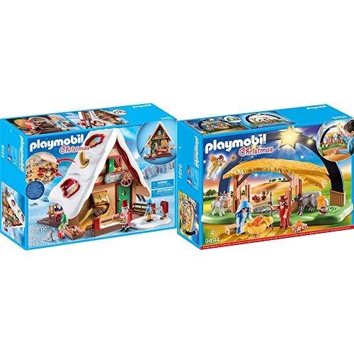 PLAYMOBIL 9493 Spielzeug-Weihnachtsbäckerei mit Plätzchenformen, Unisex-Kinder &  9494 Spielzeug-Lichterbogen Weihnachtskrippe, Unisex-Kinder