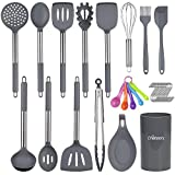 16 Pcs Kitchen Cooking Utensils Set, Chefstory Silicone Cooking Utensil with Holder, Heat Resistant, Non-stick Kitchen Tools Set for Cookware, Grey