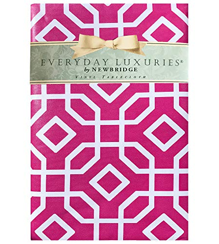 "Newbridge Octavia Contemporary Trellis Design Vinyl Flannel Backed Tablecloth - Octagon Geometric Modern Indoor/Outdoor Vinyl Patio, BBQ and Dining Tablecloth - 60"" x 102"" Oblong/Rectangle, Pink"
