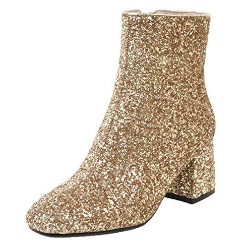 MISSUIT Damen Chunky Heels Ankle Boots Glitzer Stiefeletten mit Blockabsatz und Reißverschluss 6cm Absatz Pailletten Schuhe(Gold,41)