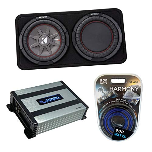 """Kicker 43TCWRT102 10"""" CompR Series Sub 400W RMS Thin Profile Loaded Subwoofer Box Bundle with Harmony HA-A400.1 Amplifier & Amp Kit"""