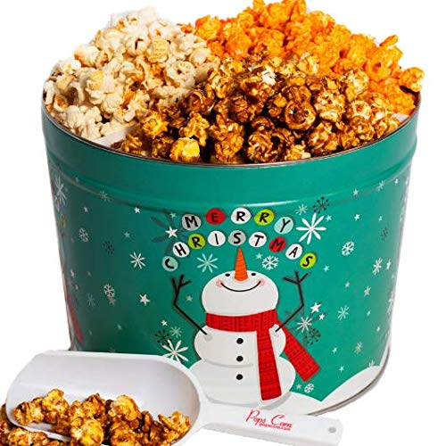 Christmas Gourmet Popcorn Tin -2 Large gallons- Our 3 Most Popular Flavors - Popped Fresh-FREE Sanitary Scooper and Bags!
