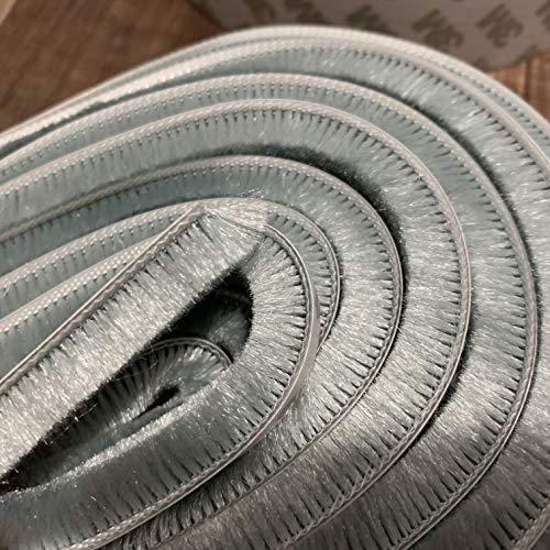 Sellos de cepillo adhesivo para marco de puerta de ventana, burlete de lana, 7x8mm, 10 metros, gris