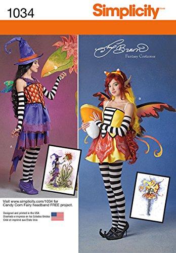 Simplicity 1034Größe H5Schnittmuster Amy braun Fee Kostüme Schnittmuster, Mehrfarbig