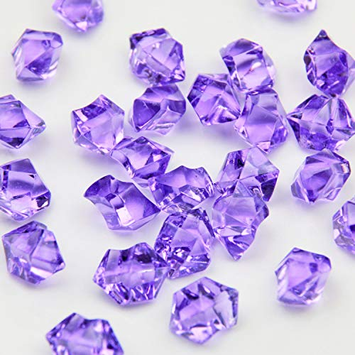 WELMATCH Purple Acrylic Ice Rock Crystals Treasure Gems for Table Scatters, Vase Fillers, Wedding, Banquet, Party, Event, Birthday Decoration (Purple 150)