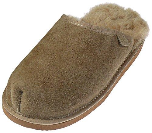 Extra Dicke Lammfell Pantoffeln für Herren, Farben:beige, Schuhgröße:45