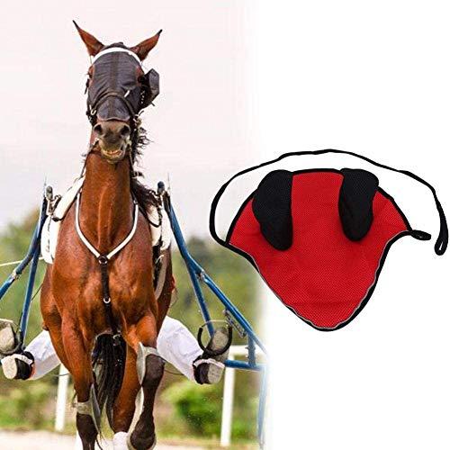 HEEPDD Cuffia Volante Cuffia da Cavallo Traspirante Cuffia da Cavallo Rete da Orecchio Vela a Vela Attrezzatura per Equitazione per Attrezzatura equestre(Rosso)