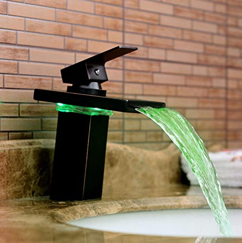 ROTOOY LED Licht Becken heien und kalten Wasserhahn Kupfer Wasserfall schwarz Bronze Becken Wasserhahn