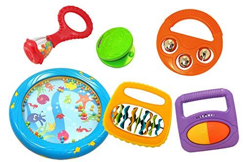 Musik für Kleine Baby-Rhythmus-Set Baby-Maraca Kastagnette Klipp-Klapp-Rassel Meerestrommel Rassel-Roller Schellen Kinder Instrument (6-Teilig), mehrfarbig
