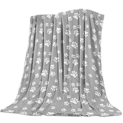 Pet Dog Cat Paws Leichte warme Decke Fannel Bettdecke Grau Superweiche Reserviberdecke für das All Season Bed Couch Sofa