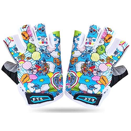 Kids Cycling Gloves Half Finger Gel Padded Non-Slip Breathable, Junior Glove Girls Boys Fingerless Adjustable for Mountain Bike Running Riding Sport Outdoor Biking Skating (Blue, Large)