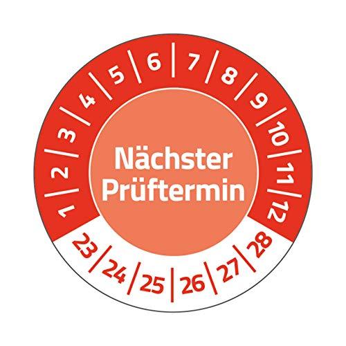 AVERY Zweckform 120 Prüfplaketten Nächster Prüftermin 2023-2028 (widerstandsfähig, selbstklebend, Ø 20 mm, Prüfaufkleber, beschriftbare Prüfsiegel aus Vinyl-Klebefolie) Art. 6987-2023, rot