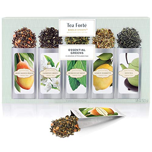 Tea Forte Organic Green Tea Sampler, Essential Greens Single Steeps Loose Leaf Tea Gift Box Variety Pack of 15 Single Serve Pouches with Classic Green Tea Blends