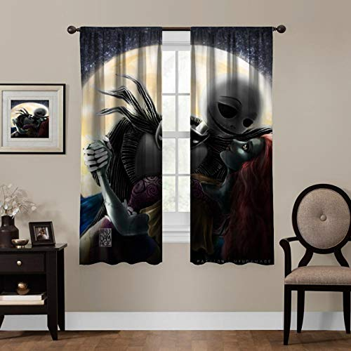 Christmas Blackout Curtains,Nightmare Before Christmas (2),Living Room Bedroom Window Drapes Panels Set of 2 with Rod Pocket,Soundproof Shade Curtains,for boys and girls Room Décor, 55x63 inches