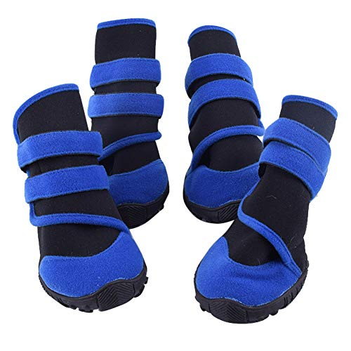 AzsfUfsa53 Pet Dog Puppy Winter Portable Waterproof Anti-Slip Rain Shoes Snow Boot Footwear Protective Dog Boots Pet Warm Supplies Blue+Black S