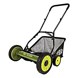 Sun Joe MJ501M 18-Inch Manual Reel Mower w/Grass Catcher, Green/Black 1 REEL MOWER: Powered with a push, this manual mower's 5 sharpened steel blades cut a crisp 18-inch path in a single pass — no gas, oil or electricity required ADJUSTABLE: 9 position manual height adjustment for cutting heights up to 2. 44 in. deep RAZOREEL: 5 durable steel blades swiftly slice through grass for precise cutting