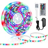 Linkstyle LED Strip Lights 16.4ft Waterproof RGB Color Changing Light Lighting Strip Kit with Remote and 12V Power Supply for Decor Home TV Bedroom Kitchen Living Room Walls Desk Holiday Festival