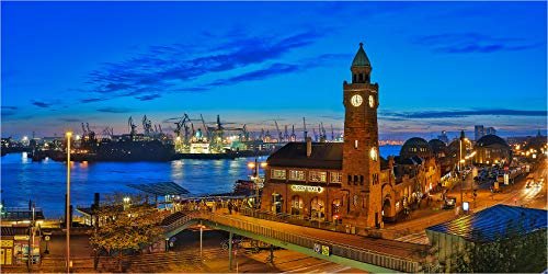 LED Leuchtbild bis 280 cm Breite, Panoramabild Hamburg Pegelhaus und Hafen, Wandbild mit Alu Rahmen, tauschbarem! Motiv, dimmbar und homogener vollflächiger LED Hinterleuchtung