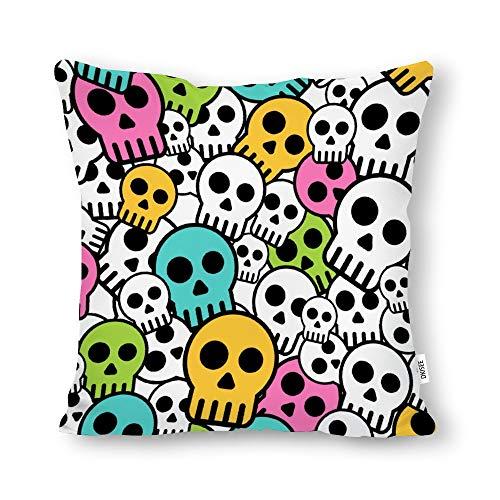 DKISEE Funda de almohada decorativa sin costuras, con diseño de calavera, cuadrada, lona de algodón, funda de cojín lumbar para sofá cama, sofá cama, sofá cama, 18 x 18 pulgadas