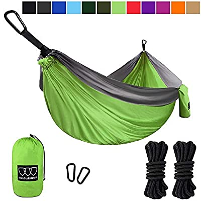 Gold Armour Camping Hammock, Double & Single Parachute Hammock with Ropes, USA Brand Lightweight Portable Mens Womens Kids, Camping Accessories Gear (Lime Green and Gray, 1 Person)