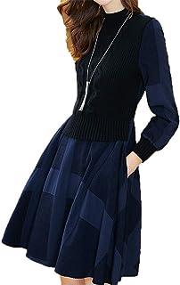 [美しいです]秋ハーフハイ襟、ウエストニットセータードレス、偽の2ピースドレス