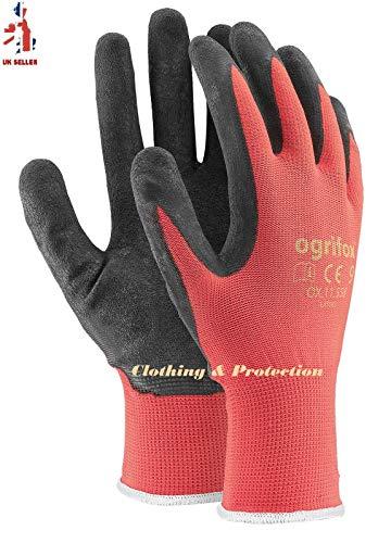 Arbeitshandschuhe mit Latexbeschichtung, sicher, langlebig, griffig, für den Garten, Bauarbeiter, 24 Paar, M - 8, schwarz / rot, 60