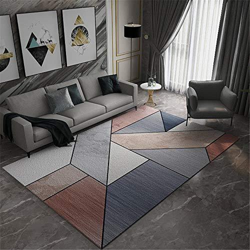 Alfombras Decoracion recibidor Diseño geométrico de Color marrón Gris-Resistente a la Mancha y Antideslizante. Home Decoracion alfombras Infantiles 140X200CM