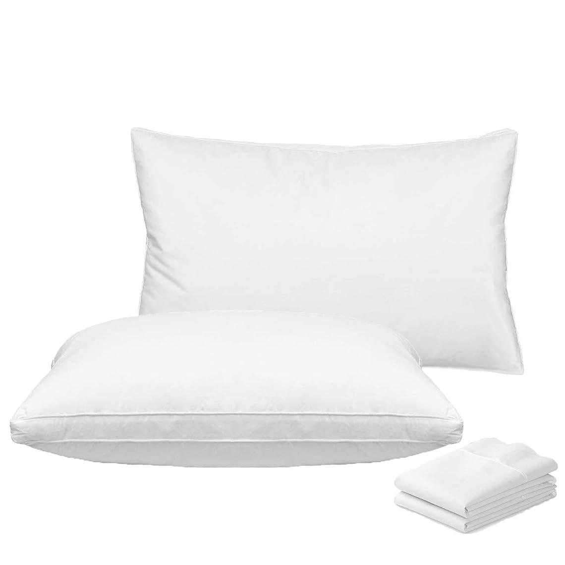 アークアパート代理店ROADSWIN 枕 安眠 人気 枕 肩こり 安眠枕 枕と枕カバー 2組セット 高反発枕 横向き対応 丸洗い可能 立体構造 高級ホテル仕様 - 43x63cm