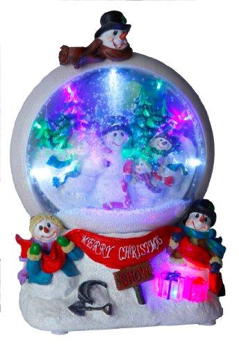 """Best Season LED-Schneekugel""""Snowmen""""bunte LED-Lichter, Schneegebläse circa 32 x 21 cm mit Trafo oder Batterie, Vierfarb-Karton 680-74"""