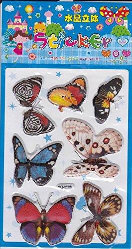 3D Papillons Animaux Decal autocollant de décalque 1 Dimensions de la feuille: 16 cm x 8 cm