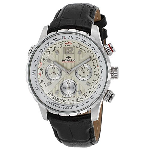 Rotary Aquaspeed Herren-Armbanduhr 42mm Armband Leder Schwarz Gehäuse Edelstahl Quarz GS60175-31