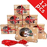 OurWarm 12 Packs Christmas Cookie Boxes with Window, Food Grade Kraft Bakery Boxes with Oilpaper and...