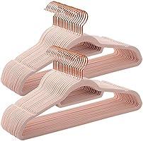 SONGMICS Cintres en Velours, Lot de 50, antidérapants, avec Crochets Rose Gold pivotants, épaisseur 0,6 cm, Longueur 45...