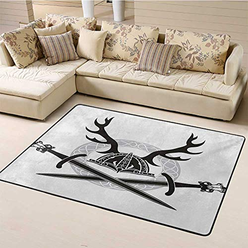 Indoor Modern Area Rugs Antler Indoor Floor Mat Hat with Deer Antlers Viking Culture Celtic Circle Medieval Barbarian Theme for Bedroom Living Room Black White Silver (5'x8')